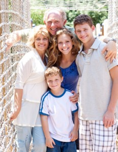 portrait of family on hanging bridge